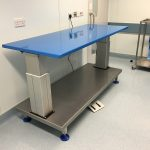 height adjustable packing table with antimicrobial finish in blue
