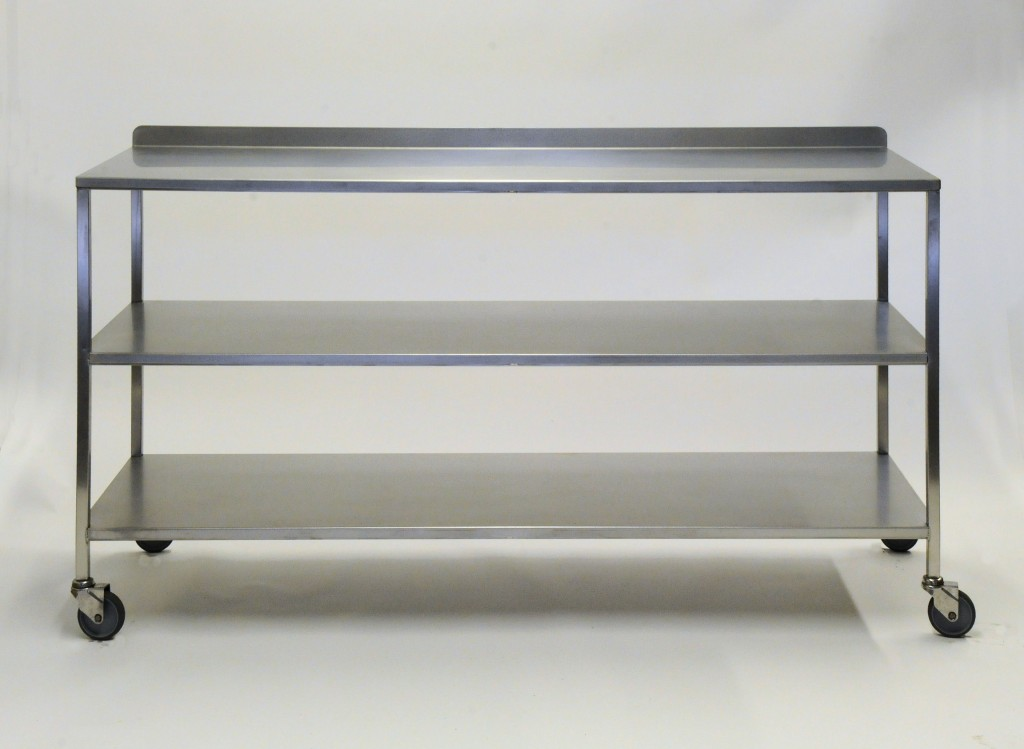 Stainless steel work storage trolley with middle shelf