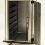 Secure endoscope cart, soft roll wheels, protected push handles, two doors and trolley wash compatible