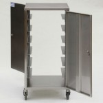 Stainless steel double door endoscope transport trolley