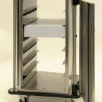 Endoscope cart with cargo and two open doors