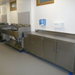 Endoscopy height adjustable sink and stainless steel storage installation