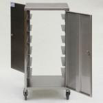 Stainless steel double door endoscope transport trolley