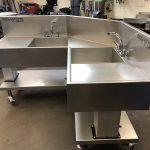 Height adjustable bespoke corner sink